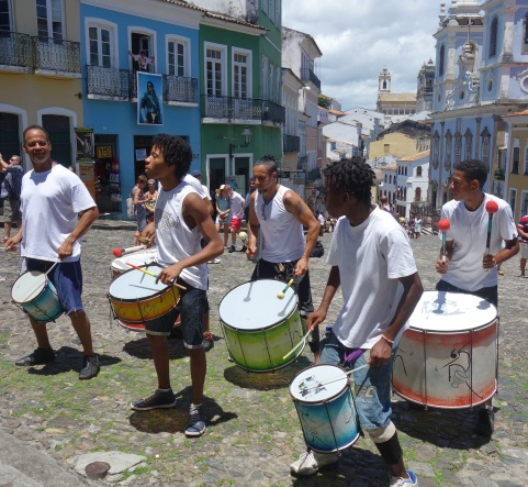 A small group of drummers from Olodum